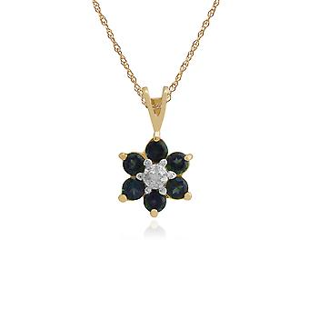 9ct Yellow Gold 0.49ct Mystic Green Topaz & Diamond Floral Pendant on 45cm Chain