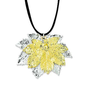 Sterling Silver/24k Gold Dipped Double Full Moon Maple Leaf Necklace - 15.7 Grams - 20 Inch
