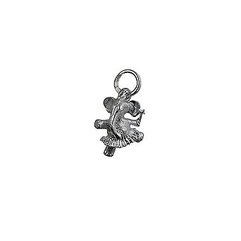 Silver 13x11mm Ballerina Elephant Pendant or Charm
