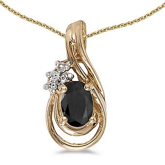 10k Yellow Gold Oval Onyx And Diamond Teardrop Pendant with 18