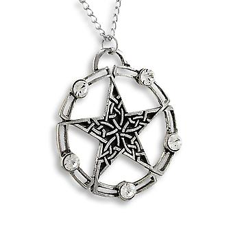 Rhinestone Accented Celtic Pentacle Pendant / Necklace