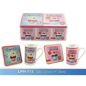 Retro Cupcake Mug and Coaster Set In Tin Box Gift Idea Coffee Drinkware