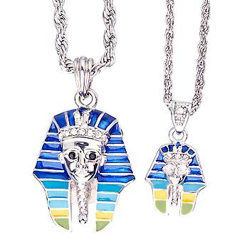 Iced out bling mini chain pendant set - 2 x PHARAOH silver