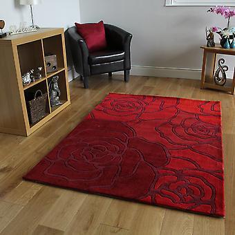 Red Rose Pattern Modern Wool Rug Banbury