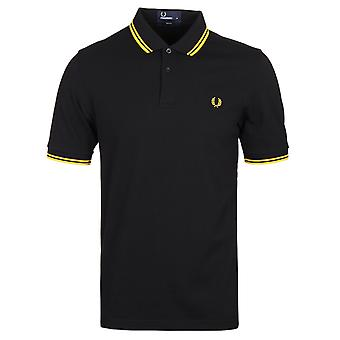 Fred Perry M3600 noir & nouveau jaune Slim Fit Twin Tipped Polo Shirt