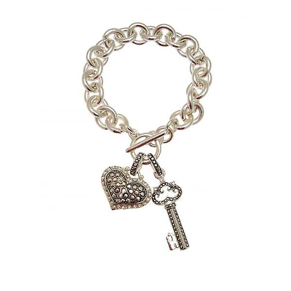 W.A.T Silver Style Heart Padlock And Key Charm Bracelet