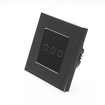 I LumoS Black Brushed Aluminium 3 Gang 1 Way WIFI/4G Remote Touch LED Light Switch Black Insert