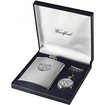 Woodford Horse Racing 6oz heupfles en Pocket Watch Set - zilver