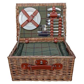 Badminton 2 Person Green Tweed Fitted Wicker Picnic Basket
