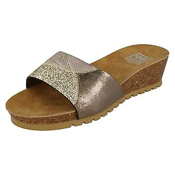 Ladies Down To Earth Mid Cork Wedge Sandals F10692