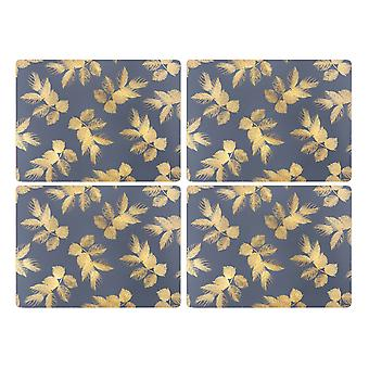Sara Miller Etched Leaves Navy Placemats, Set of 4