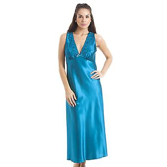 Camille Luxury Teal Lace Satin Chemise