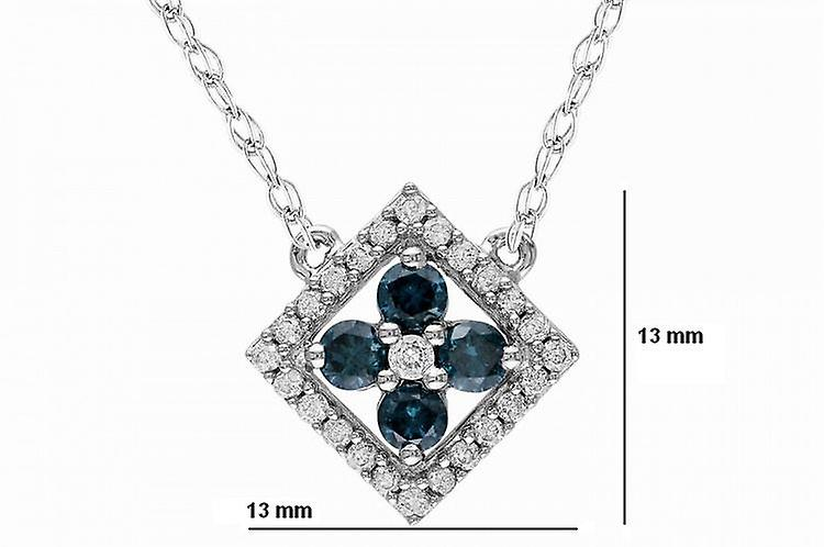 Affici Sterling Silver Necklace 18ct White Gold Plated with Blue Sapphire & Diamond CZ Gems