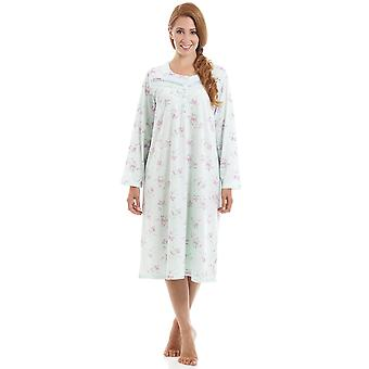 Camille Classic Style Long Sleeve Floral Print Aqua Blue Nightdress