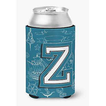 Letter Z Sea Doodles Initial Alphabet Can or Bottle Hugger