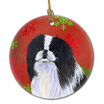 Japanese Chin Red Snowflakes Holiday Christmas Ceramic Ornament SS4674