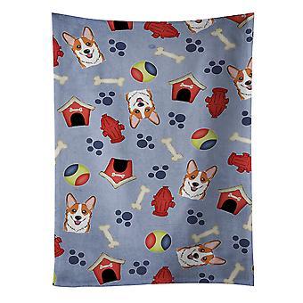 كارولين الكنوز BB4033KTWL الكلب البيت جمع فصيل كورجي الأحمر المطبخ منشفة