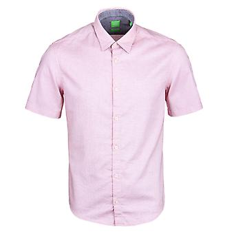 BOSS Green C-Bustinero Pale Red Short Sleeve Oxford Shirt
