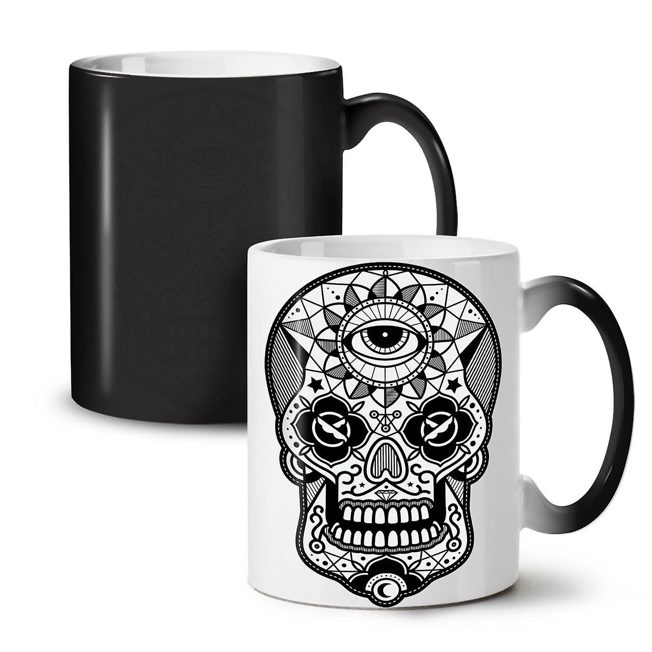 Colour Skull 11 Black Ceramic Coffee Mug OzWellcoda New Tea Eye Changing Head kXTZuiOP
