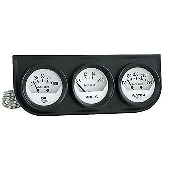 Auto Meter 2324 Autogage White Console Oil/Volt/Water Gauge with Black Steel