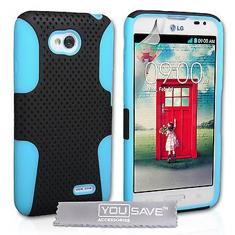 Yousave Accessories LG L70 Tough Mesh Combo Silicone Case - Blue-Black