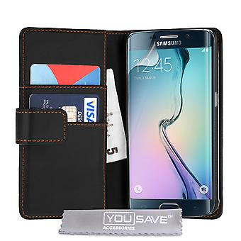 Samsung Galaxy S6 Edge Leather-Effect Wallet Case - Black