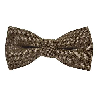 Highland Weave Hessian Brown Bow Tie
