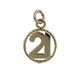 9ct Gold 17mm number 21 in twisted wire circle Pendant or Charm