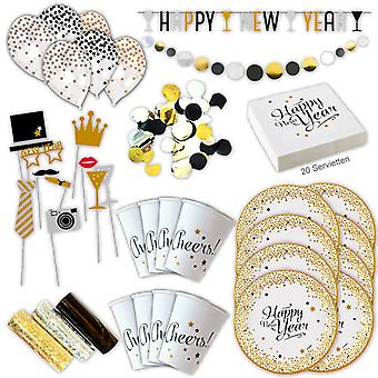 Happy new year new year's Eve party set XL 58-teilig 8 guests new year decoration party package