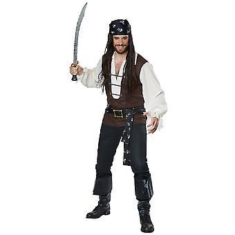 High Seas Adventurer Pirate Jack Sparrow Buccaneer Captain Mens Costume