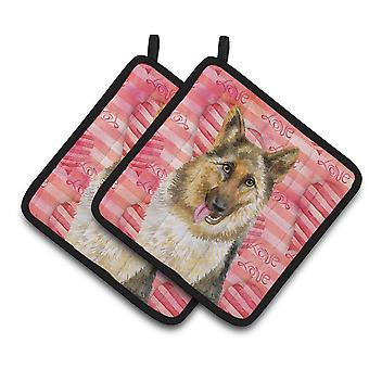 Carolines Treasures  BB9741PTHD German Shepherd Love Pair of Pot Holders