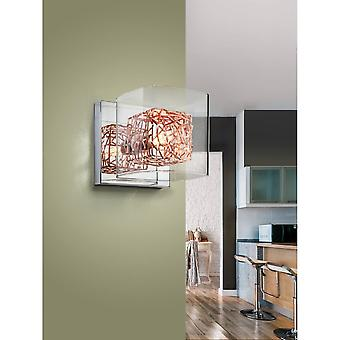 Schuller Lios Chrome And Copper Square Modern Wall Lamp, 13x13x15cm