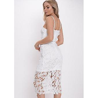 Uncinetto bianco vestito longuette aderente