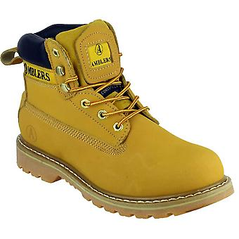 Amblers Mens Tavistock Lace Up leder stof bekleed Casual schoen geel