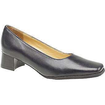 Amblers Ladies Walford Slip On Wide Fit Leather Formal Court Shoe Navy