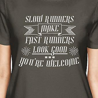 Slow Fast Runners Womens Cool Grey Funny Gym T-Shirt For Workout