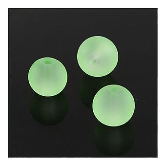 Strand 195+ Pale Green Glass 4mm Frosted Plain Round Beads Y05295