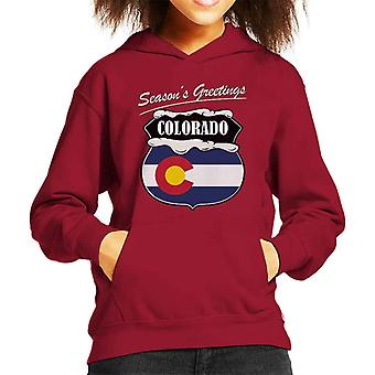 Seasons Greetings Colorado State Flag Christmas Kid's Hooded Sweatshirt
