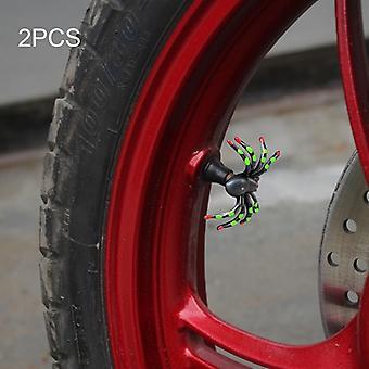 2 x funny motos neumático válvula tapa spider tapa Grün Helloween