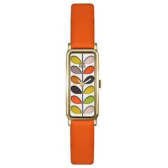 Orla Kiely Womens Stem Gold Case Orange Gurt OK2156 Uhr