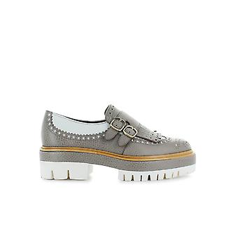 SANTONI DOUBLE-BUCKLE PLATFORM WHITE/TAUPE MOCCASIN