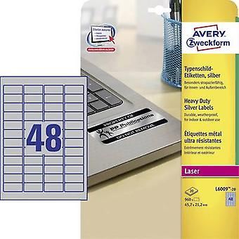 Avery-Zweckform L6009-20 Labels 45.7 x 21.2 mm Polyester film