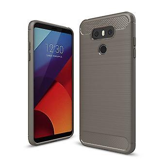 LG G6 TPU caso carbono fibra óptica cepillada gris cubierta de protección