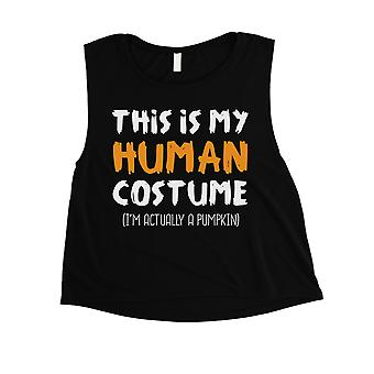 This Is My Human Costume Womens Black Crop Top