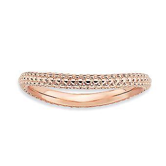 2,25 mm argento martellata fantasia espressioni impilabile lucidate Rosa-piastra Wave anello - anello taglia: 5-10