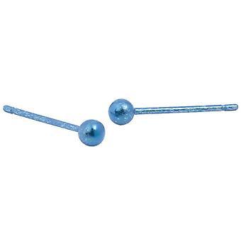 Ti2 Titanium 3mm ronde kraal Stud Oorbellen - Kingfisher blauw