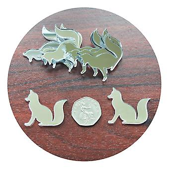 Bushy Tail Fox Mini Craft Sized Acrylic Mirrors (10Pk)