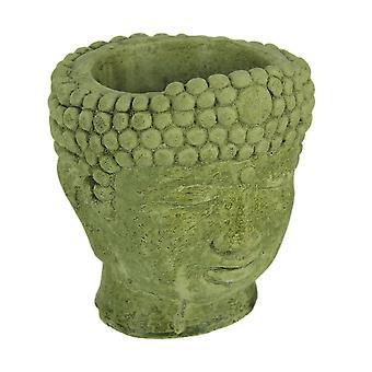 Fioriera in cemento stilista testa di pietra coperti di muschio verde piccolo Buddha