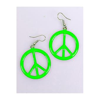 Jewelry and crowns  Peace earrings fluorescent green