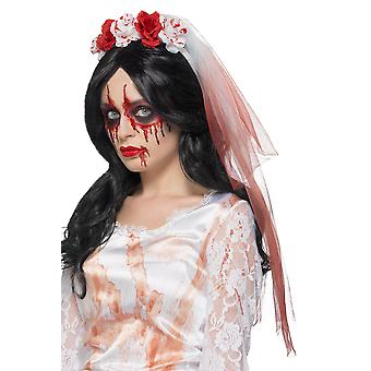 Bloody Bridal Veil Halloween accessory zombie blood drip veil